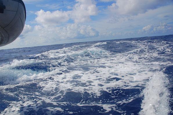 Wie auf Schienen.......  Doppel-Kielwasser bei 8,5kn und moderatem Seegang