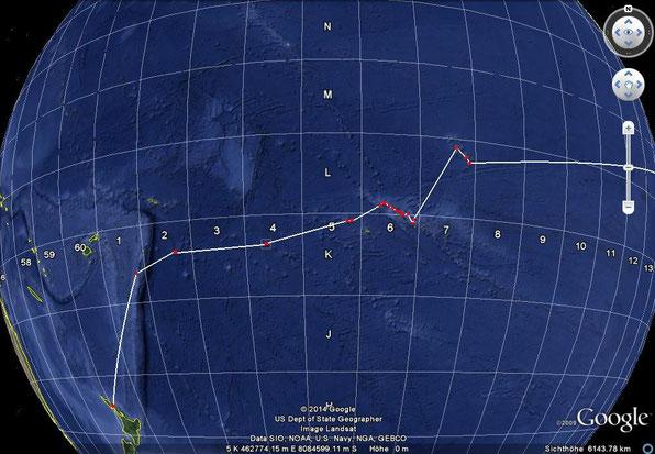 Tuamotus( L+K6 ),  Tahiti ( K5 ),  Niue ( K2 ), Tonga ( K1 ), Whangarei/Newzealand ( H60 )