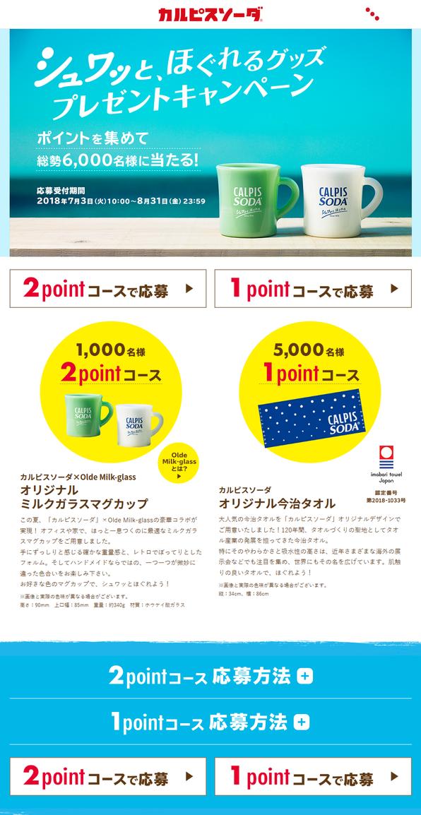 【アサヒ飲料】カルピスソーダ シュワッと、ほぐれるグッズプレゼントキャンペーン