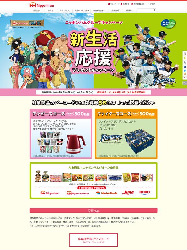 【日本ハム】ワンピース 新生活応援キャンペーン