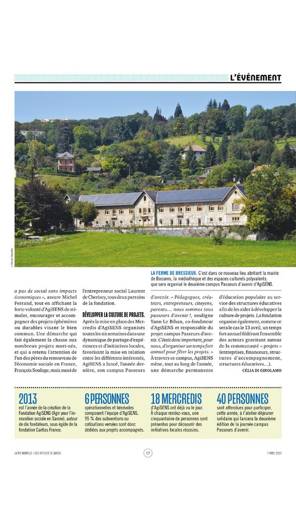 """Article de La Vie Nouvelle du 7 avril 2017   page 2 parlant du Campus """"Paseurs d'Avenir"""" du 13 avril 2017 organisé par Agisens"""