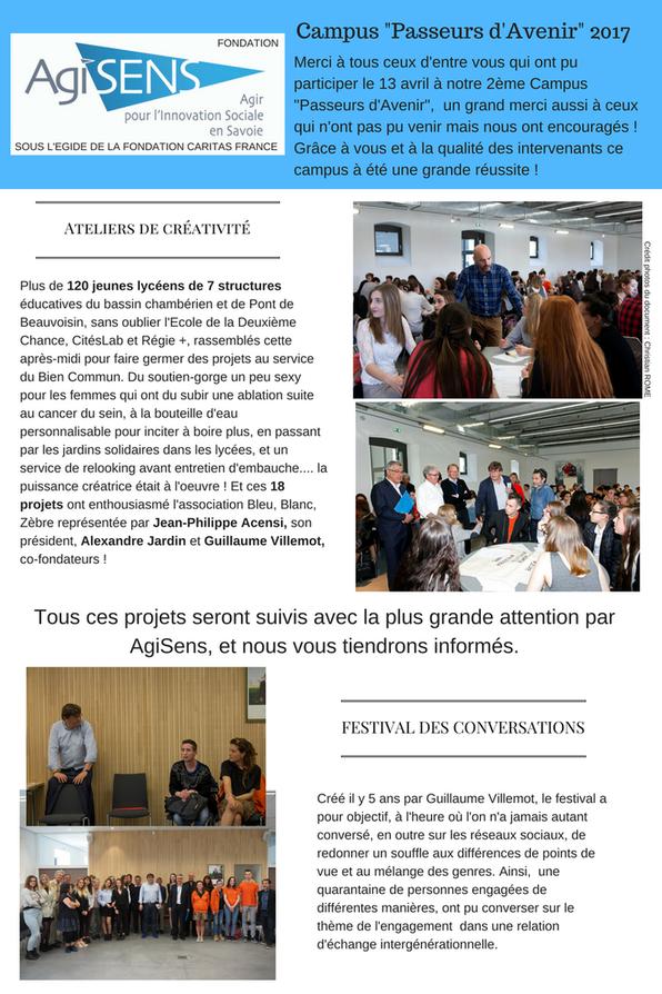 """Compte rendu de la journée du 13 avril 2017 Campus """"Passeurs d'Avenir"""" organisé par Agisens"""