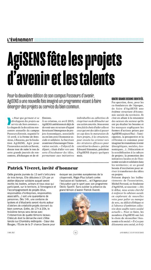 """Article de La Vie Nouvelle du 7 avril 2017 parlant du Campus """"Paseurs d'Avenir"""" du 13 avril 2017 organisé par Agisens"""