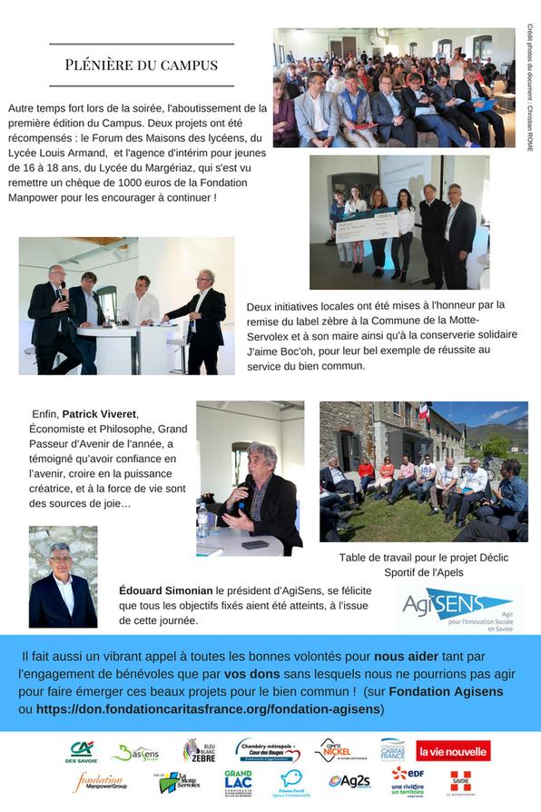 """Compte rendu Page 2 de la journée du 13 avril 2017 Campus """"Passeurs d'Avenir"""" organisé par Agisens"""