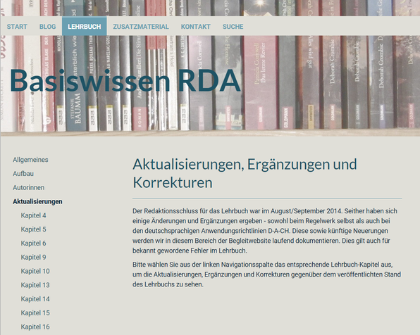"""Screenshot des neuen Bereichs """"Aktualisierungen"""" auf der Website"""