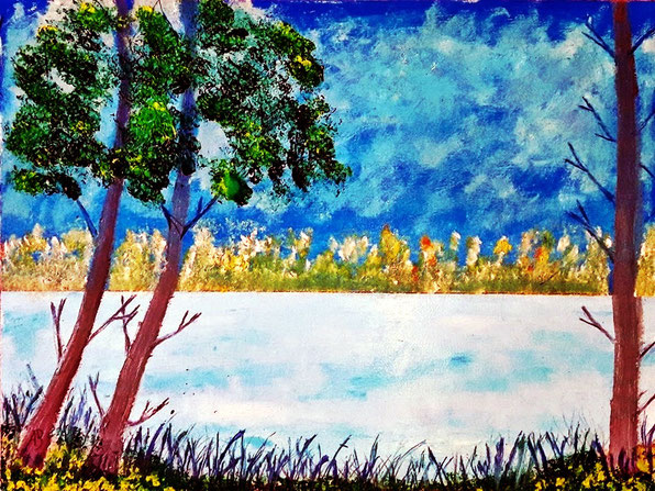 Waldsee, Ölgemälde, Bäume. Wald. See, Natur, Gras, Himmel, Landschaftsbild, Landschaft, Ölfarbe, Ölmalerei, Ölbild