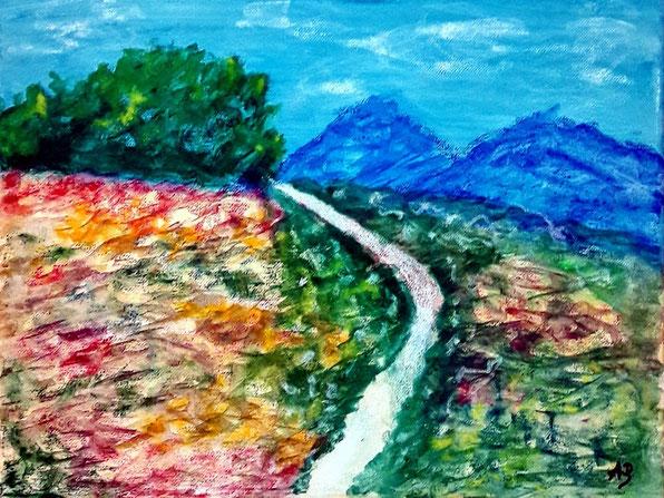 Berglandschaft, Pastellgemälde, Baüme, Blumen, Hügel, Berge, Weg, Pfad, Wald, Landschaftsbild, Pastellmalerei, Pastellbild