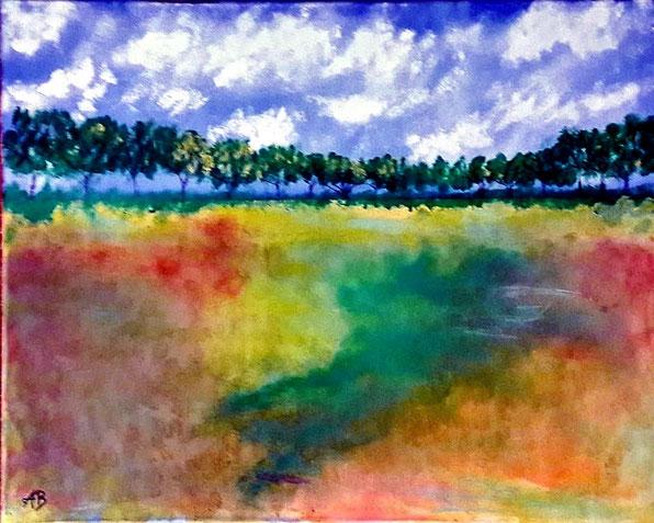 Bäume und Feld, Mischtechnk Gemälde, Landschaftsbild, Himmel, Wolken, Bäume, Feld, Wiese, Gras, Natur, Mischtechnikmalerei