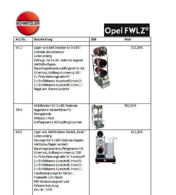 OPEL FWLZ, Ölfasslagerung,