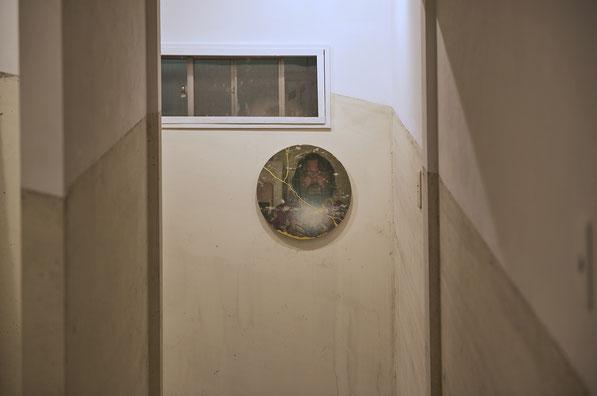 Self Portrait, 2016 (Transfer photograph to concrete and kintsugi, paint)