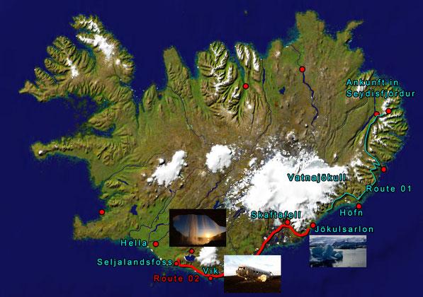 Route 02: vom Jökulsárlon zum Seljalandsfoss sind es auf der Ringstraße ca. 320 km
