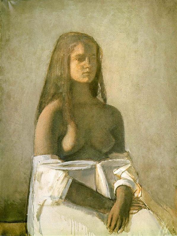 《白い部屋着の少女》1955年