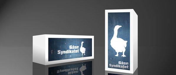 Containerleuchte / Leuchtkasten mit Werbemotiv für ein Produkt bzw. eine Firma.