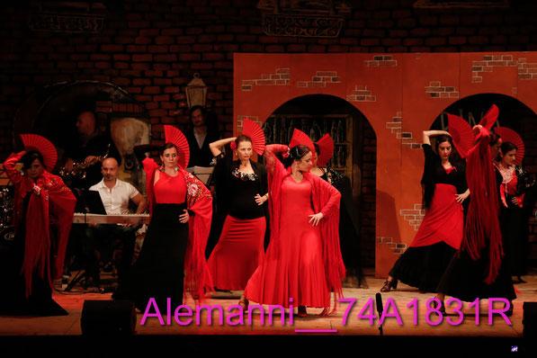 la compagnia teatrale pardo mariani -il varietà I.M.U. italiani mazzette e umorismo - RITA MARCHESINI  e il suo corpo di ballo di Flamenco