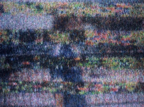 BLOCK NOISE IMAGE (glitch,self portrait) 145.6x193.7cm, oil on canvas, 2006
