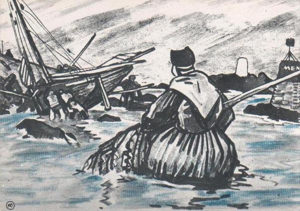 Mathurin Méheut représente ici une pêcheuse de crevettes et un sloup de pêche échoué à proximité de la tourelle MenGwen Bras on voit au troisième plan la pyramide blanche de Pighet