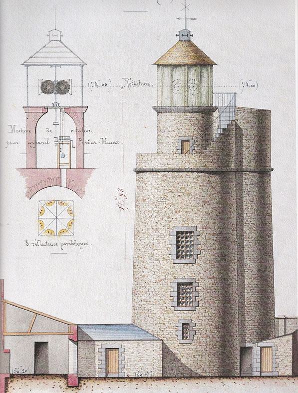 Phare du cap Fréhel tel qu'il était de 1821 à 1847, construit en 1701