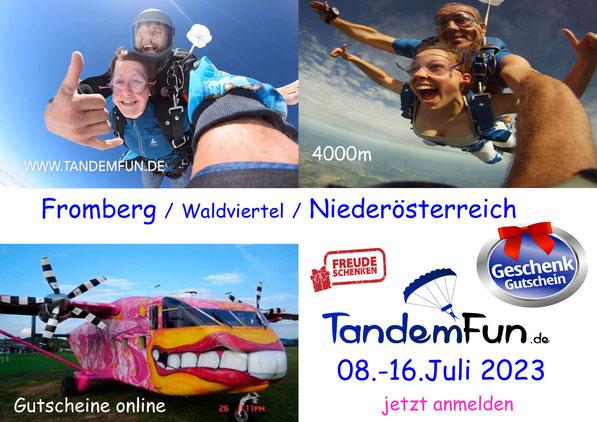 Fallschirmspringen Fromberg - Kirchberg am Walde - Niederösterreich - Termin Juli 2021