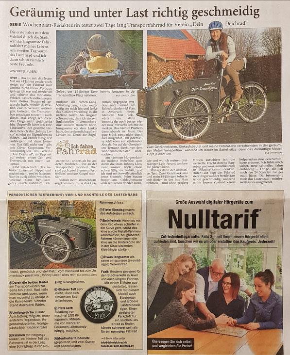 Testbericht Jeverisches Wochenblatt vom 13.01.2018. Wir sagen DANKE !
