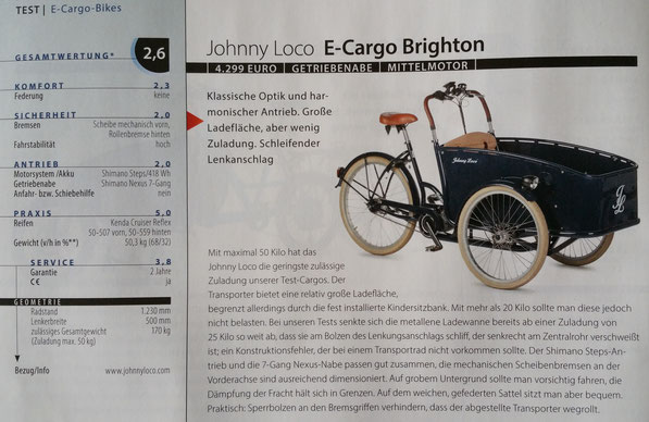 """eBike-Test der Fachzeitschrift """"e-bike Magazin"""" 02/2017"""