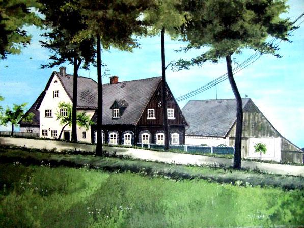 Hohenwald - Haus Nr. 22 - gemalt von Liesbeth Trikowsky, geb. Zücker um 1950