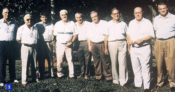 Les directeurs du CSG : Michel Mignot, Bernard Deloffre, Pierre Bescond, Albert Vienne, Yves Sillard, Jean Gruau, Guy Kramer, André Remondière, Marius Le Fèvre (g à dr).