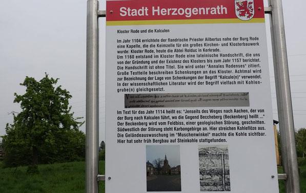 Hinweistafel: Kloster Rode und die Kalculen (c) Heinz Maas