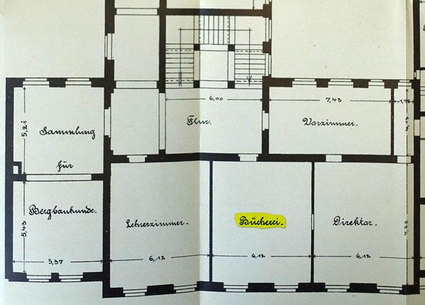 Grundriss des Obergeschoss der Bergschule mit dem Bibliotheksraum