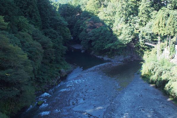 昭和橋から多摩川・日原川合流地点を眺める写真