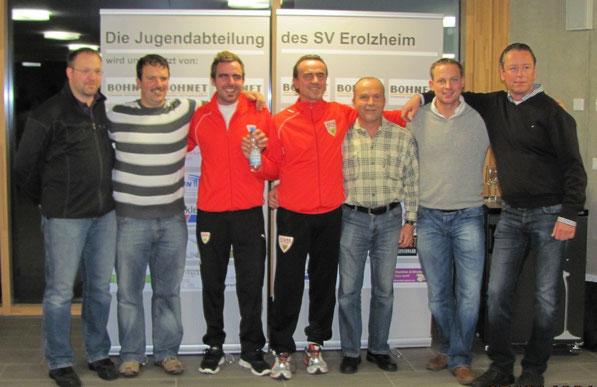 Das Organisations-Team (v.l.): Marcus Schädler, Stephan Hirsch, Trainer Manuel Bierig, Cheftrainer Günther Schäfer, Franz Weiß, Andreas Loritz, Peter Bohnet