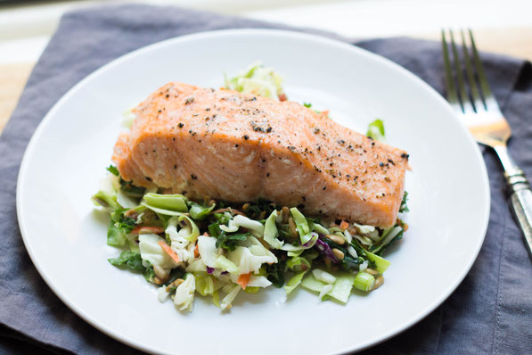 Two ingredient baked salmon with chopped salad homemade nutrition this easy baked salmon with chopped salad is a high protein gluten free and forumfinder Image collections