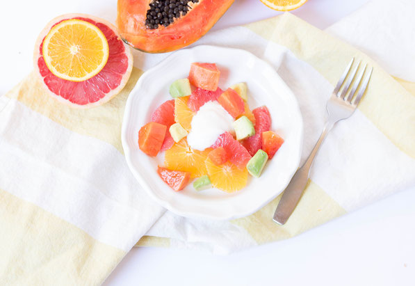 This refreshing papaya, avocado, and citrus salad is great for healthy digestion!