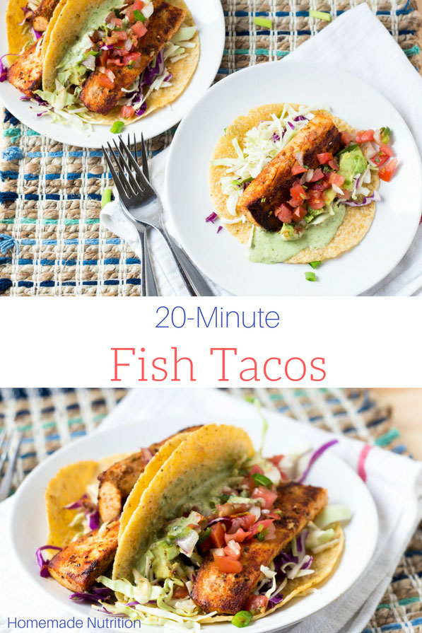 This easy mahi mahi fish taco recipe comes together in less than 20 minutes!  A perfect, healthy summer dinner recipe!