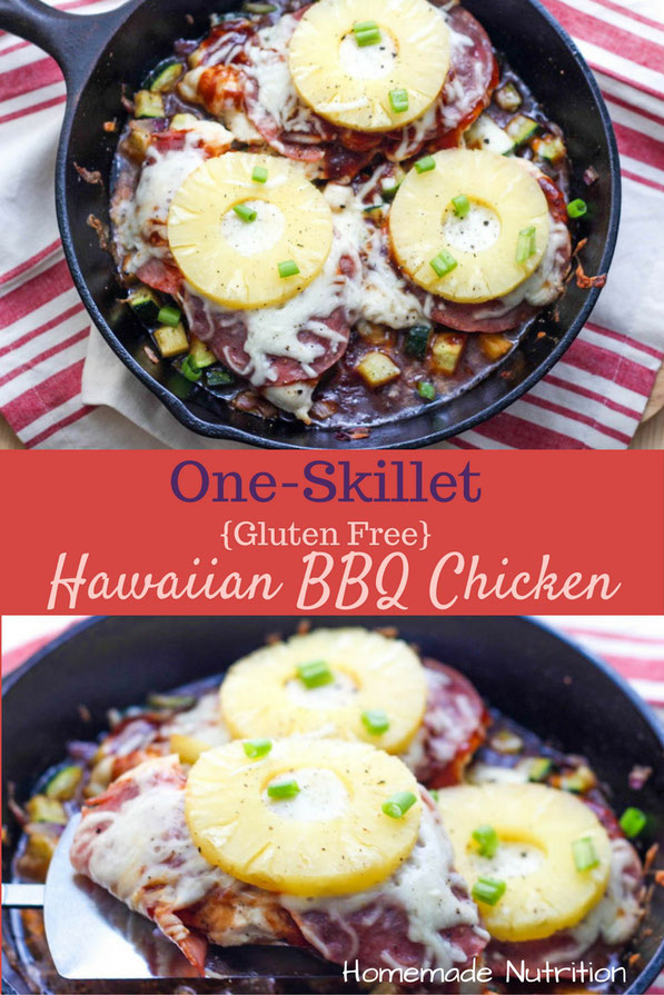 This flavorful one-skillet dinner with Hawaiian BBQ chicken and zucchini is sure to please the whole family!  It's an easy, gluten free, healthy dinner!