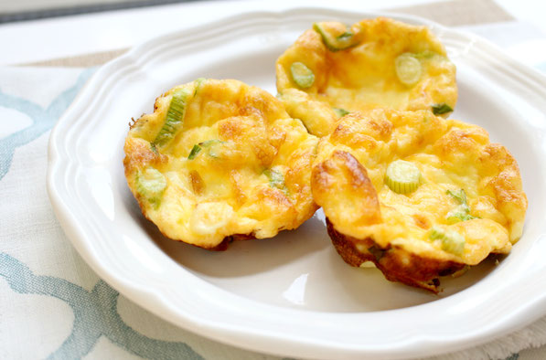 "These easy gluten free mini frittatas have just four ingredients and take just a few minutes to make!  They're a quick, healthy option for breakfast or ""breakfast for dinner!"""