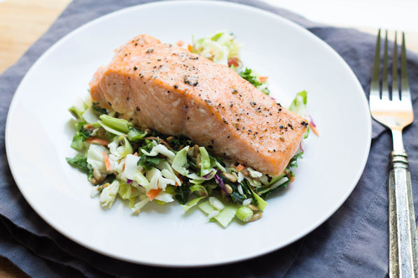 This easy baked salmon with chopped salad is a high protein, gluten free, and low carb recipe for lunch or dinner.  It also only has two main ingredients and takes just a few minutes to make!