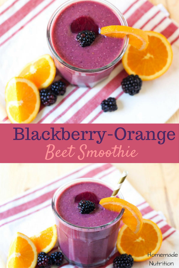 This creamy blackberry-orange beet smoothie recipe is a great way to get a healthy serving of veggies into breakfast!