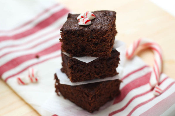 These lighter homemade brownies have a bright peppermint flavor that makes them smell and taste like the holidays!  They also have a boost of fiber from a secret ingredient....prunes!