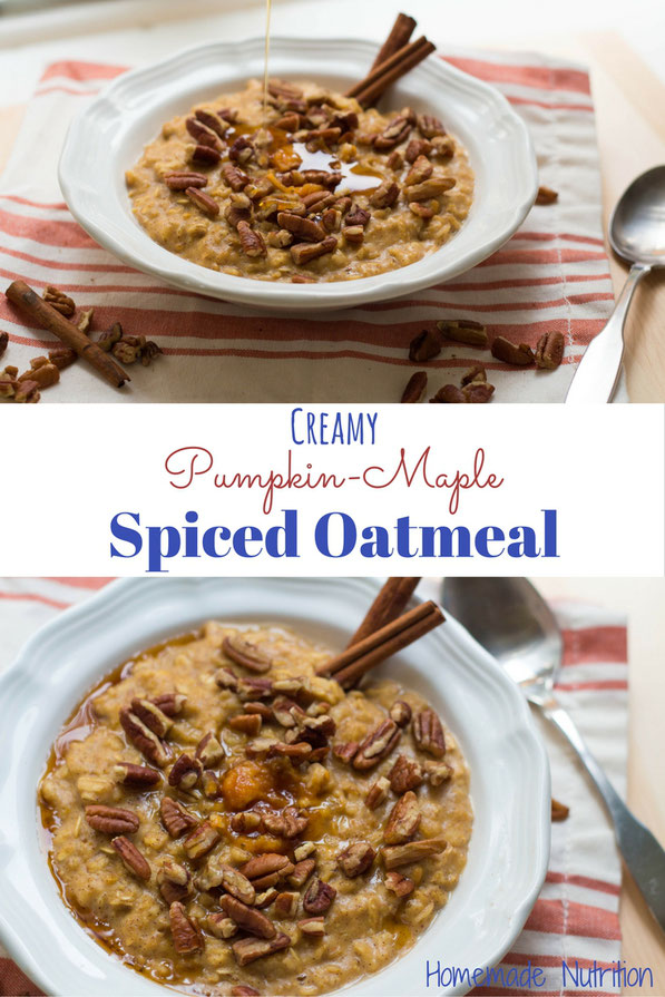 This warm and creamy oatmeal with pumpkin, cinnamon, and pure maple syrup is the ultimate comfort in a bowl breakfast recipe for fall and winter.