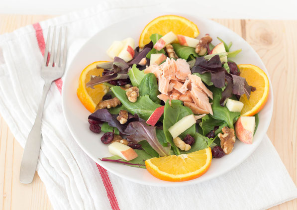 This bright, beautiful salad with salmon, walnuts, cranberries and oranges is the perfect easy healthy lunch or dinner!