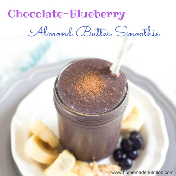 Blueberries, cocoa powder, bananas, and almond butter give this smoothie a rich creamy texture and beautiful flavor.  This sweet refreshing smoothie is a great gluten free, vegetarian breakfast recipe!