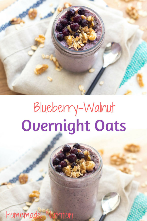 These easy blueberry-walnut overnight oats are the perfect make-ahead healthy breakfast.  They're packed with nutrition and will keep you feeling full all morning! #AD