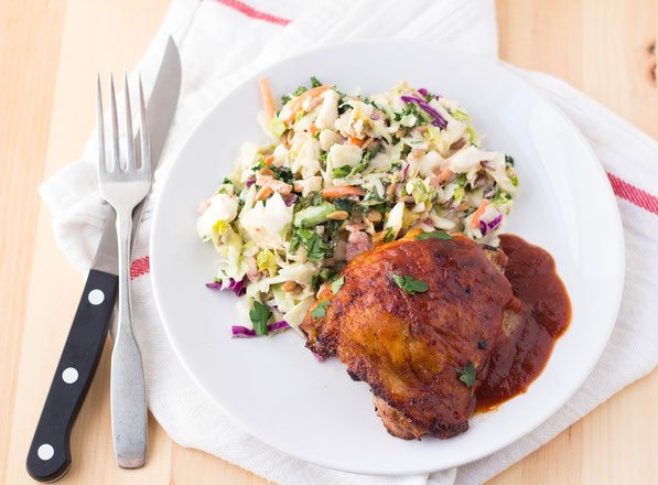 This easy oven baked BBQ chicken thigh recipe is the perfect weeknight treat!