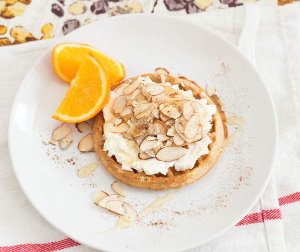 This easy multi-grain almond-honey waffle takes just minutes to make.  It's the perfect easy healthy breakfast recipe for when you're in a rush!
