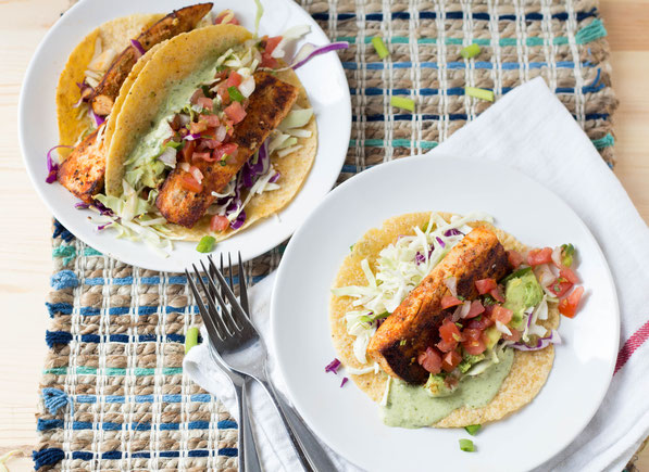 This simple and healthy fish taco recipe is fresh, light, and ready in around 20 minutes! Spiced mahi mahi is the perfect fish in this tasty dinner.