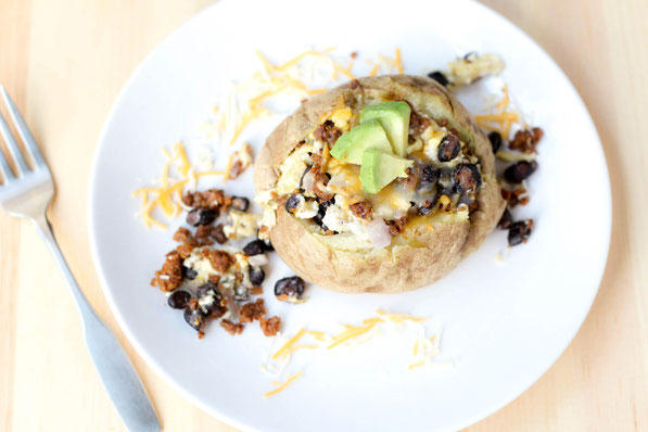 Healthy vegetarian baked breakfast potatoes recipe!  Perfect light, protein-packed breakfast!