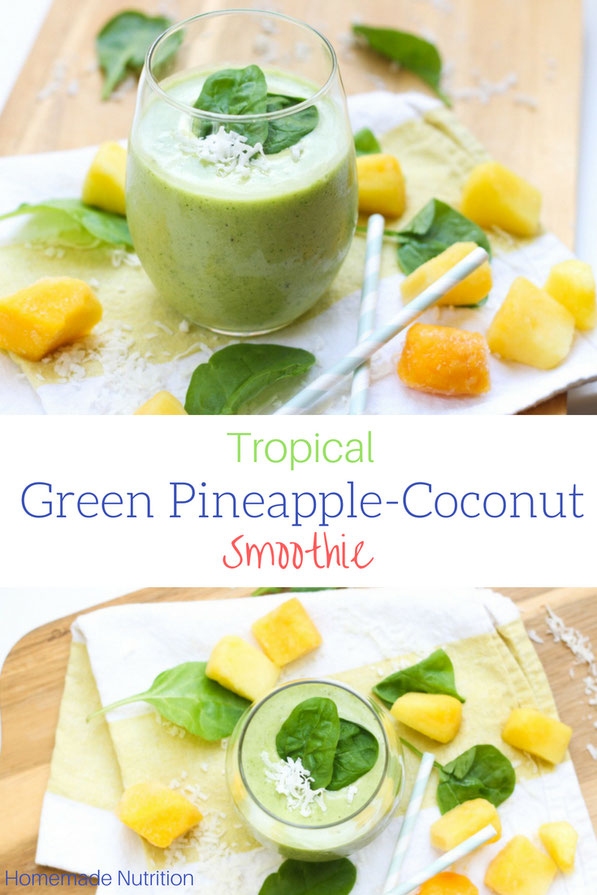 This tropical healthy green smoothie recipe made with spinach, pineapple, coconut, and mango is the perfect light summer breakfast!