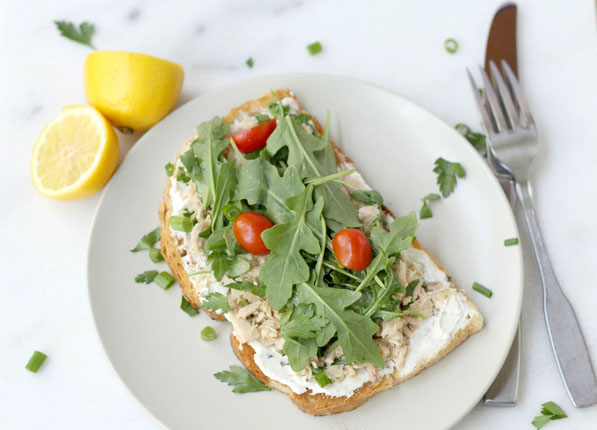 Light, healthy open-faced garden tuna sandwich recipe!  This twist on the tuna salad sandwich is perfect for spring and summer!
