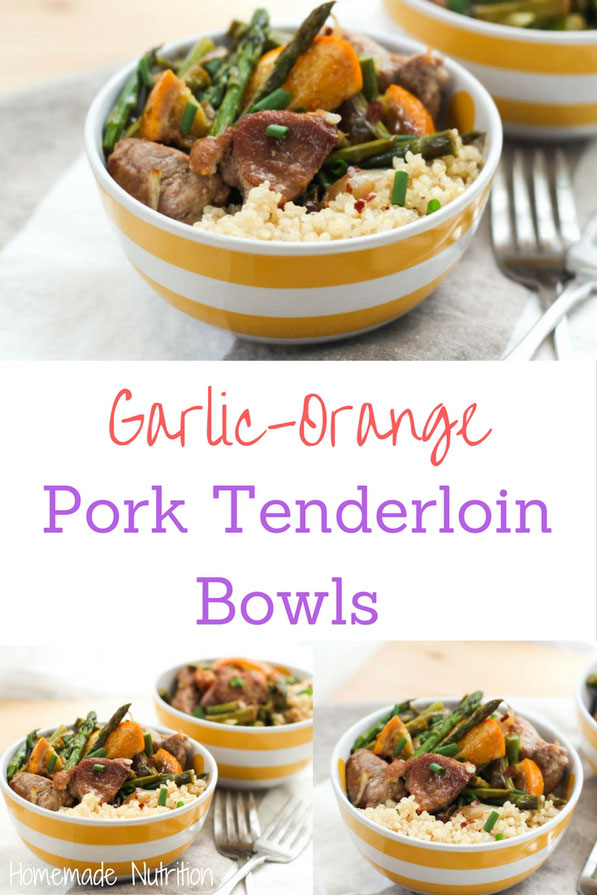 Pork tenderloin, garlic, asparagus, and orange are the perfect combination for the base of this easy dinner-in-a-bowl!   If you're looking for a fun healthy recipe to change up your dinner routine, this meal is a must-try! #AD