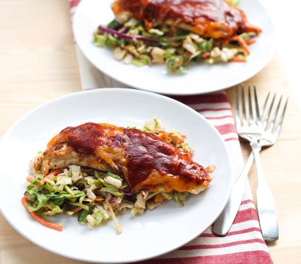 This easy cheesy barbecue chicken is the perfect healthy weeknight dinner recipe!  It's a family-friendly meal that's ready in just 15 minutes!